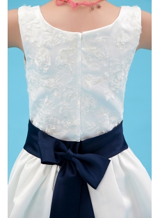 Navy Blue Trim Mini Bridal Dress for Flower Girl