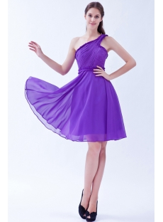 One Shoulder Cheap Purple Short Homecoming Dresses