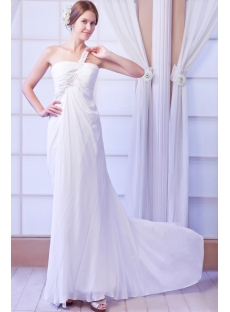 One Shoulder Sexy Beach Wedding Dress with Keyhole