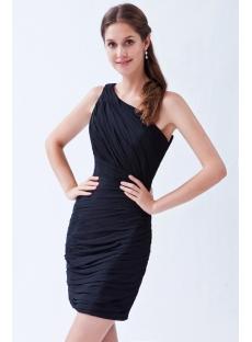 One Shoulder Simple Little Black Dresses Juniors:1st-dress.com