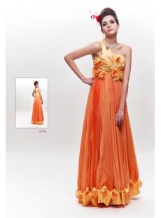 Orange Long Lovely Junior Prom Dress