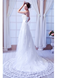 Perfect Strapless Lace Wedding Gowns with Train