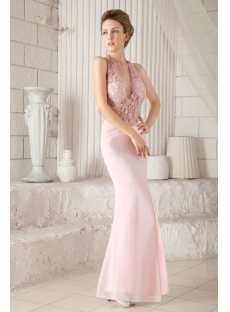 Pink Sexy Illusion Summer Evening Dress with Halter