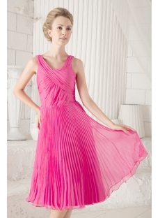 Pleats Simple Fuchsia Homecoming Dress