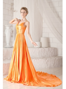 Pleats Spaghetti Straps Formal Orange Evening Dresses with Train