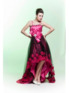 Popular High-low Hot Pink and Black Evening Dress 2012