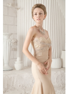 Pretty Champagne Sheath Formal Evening Dress with Small Train