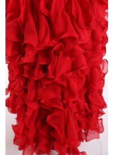 Pretty Red Formal Evening Dress with Ruffle