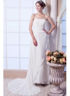 Pretty Strapless Chiffon Beach Wedding Dress