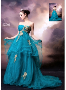 Pretty Teal Blue Casual Bridal Gown