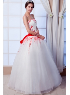 Princess Ball Gown Quinceanera Dress with Red