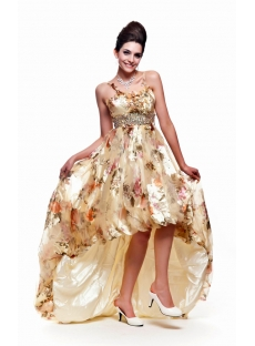 Printed Flower 2011 Prom Dress with High-low Hem