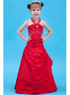 Red Halter Mini Bridal Dress for Girl