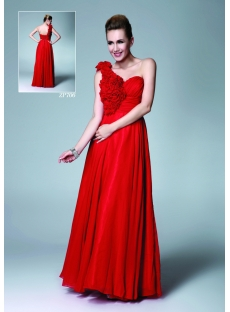 Red Long Chiffon One Shoulder Sweet Sixteen Dress