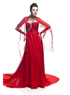 Red One Shoulder Empire Plus Size Prom Dress with Shawl