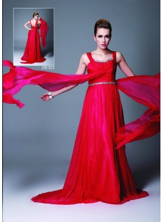Red Pageant Dress Formal Dress with Sash