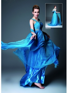 Romantic Blue Semi Formal Evening Dresses 2012 with Straps