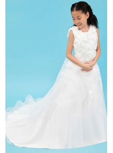 Romantic Mini Bridal Gowns for Flower Girl with Train