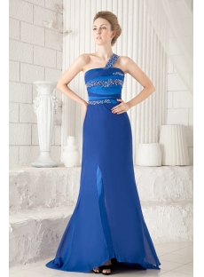 Royal One Shoulder Graduation Dress with Keyhole