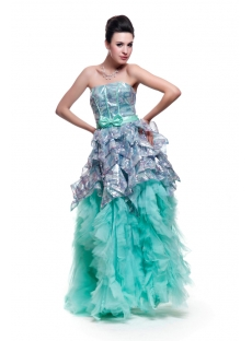 Sage and Silver Strapless Cheap 15 Quinceanera Dresses