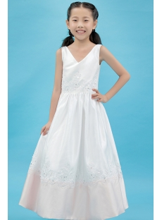 Satin Tea Length Simple Flower Girl Dress with V-neckline