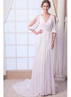 Sexy Chiffon Bohemian Beach Wedding Dress with Sleeves