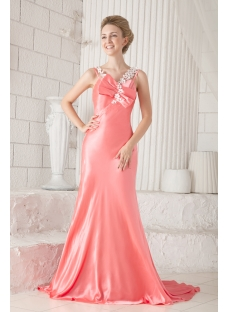 Sheath Coral Evening Dresses for Women