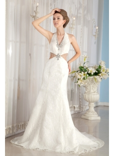 Sheath Halter Sexy Lace Summer Wedding Dress