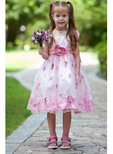 Short Pink Flower Girl Dresses with Cap Sleeves