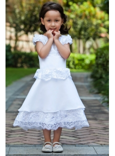 Short Sleeves Luxurious Tea Length Flower Girl Dress