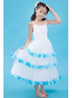 Spaghetti Straps Blue Flower Girl Dress for Summer