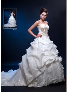 Spaghetti Straps Elegant Bridal Dress with Pick up Skirt