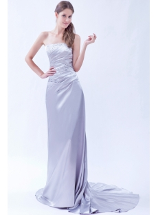 Strapless Silver Formal Evening Dress with Train