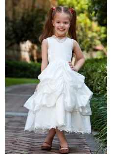 Taffeta Princess V-neckline Girl Party Gown
