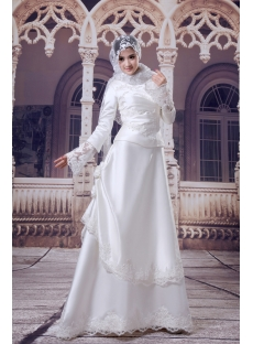 Traditional Muslim Bridal Gown with Long Sleeves