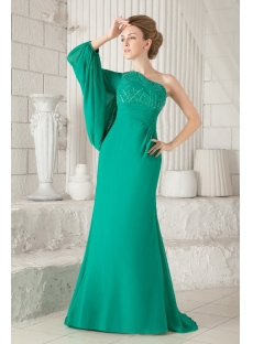 Unique Hunter Green Long Sleeves One Shoulder Evening Dresses 2013