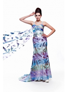 Unique Printed 2011 Prom Dress with Train