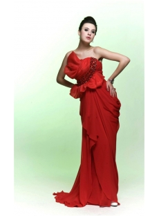 Unique Red Chiffon Sheath Evening Formal Dresses