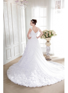 White Modest Bridal Gown with V-Neckline