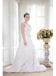 White Modest Bridal Gown with V-Neckline