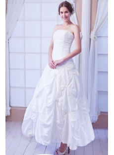 White Strapless Short Ball Gown Wedding Dress