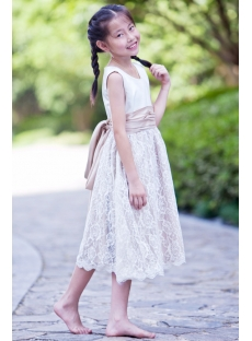 White and Champagne Elegant Short Lace Flower Girl Dress
