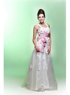 White and Pink 2011 Quinceanera Dress with Flowers
