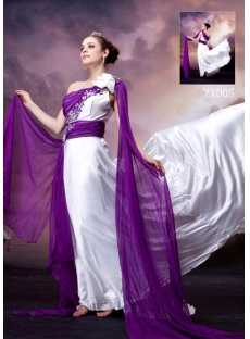 White and Purple Unique One Shoulder 2013 Evening Dress
