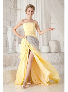 Yellow and Gray 2013 Prom Dresses with Train