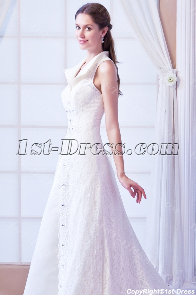 2014 Elegant Lace Princess Wedding Dresses with Keyhole:1st-dress.com