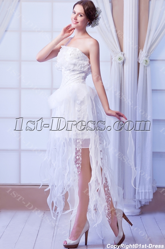 Best Romantic Style Wedding Dresses with High-low:1st-dress.com