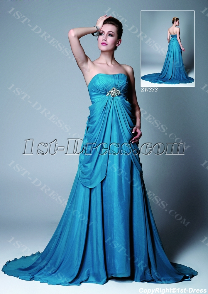 Blue Chiffon Empire Maternity Evening Gown:1st-dress.com