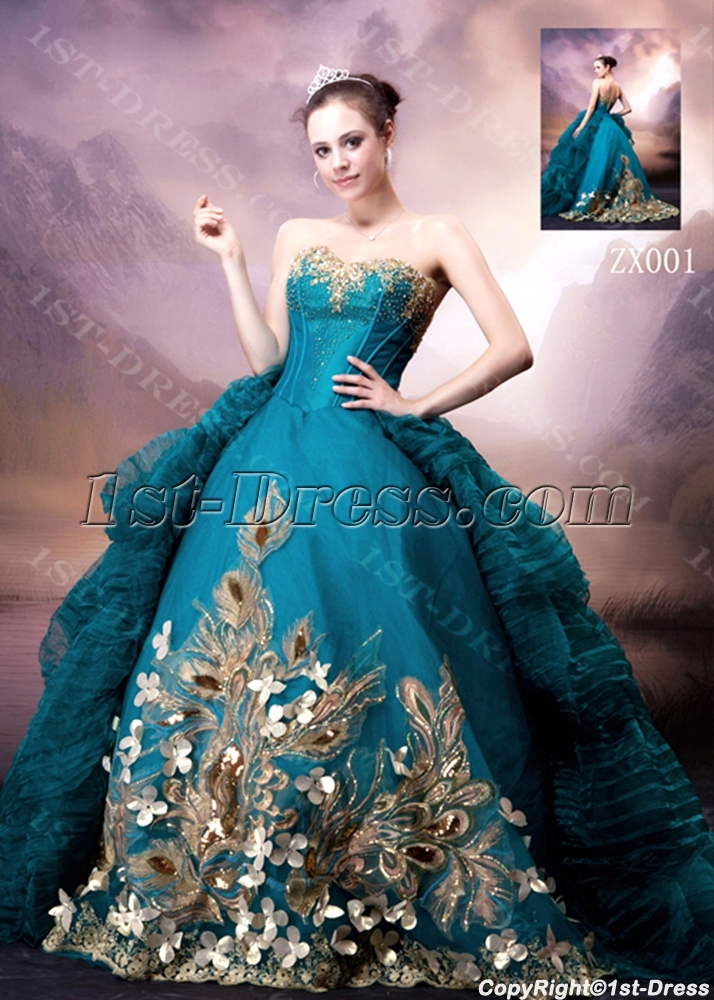 Blue and Gold Luxury Gothic Wedding Dress:1st-dress.com