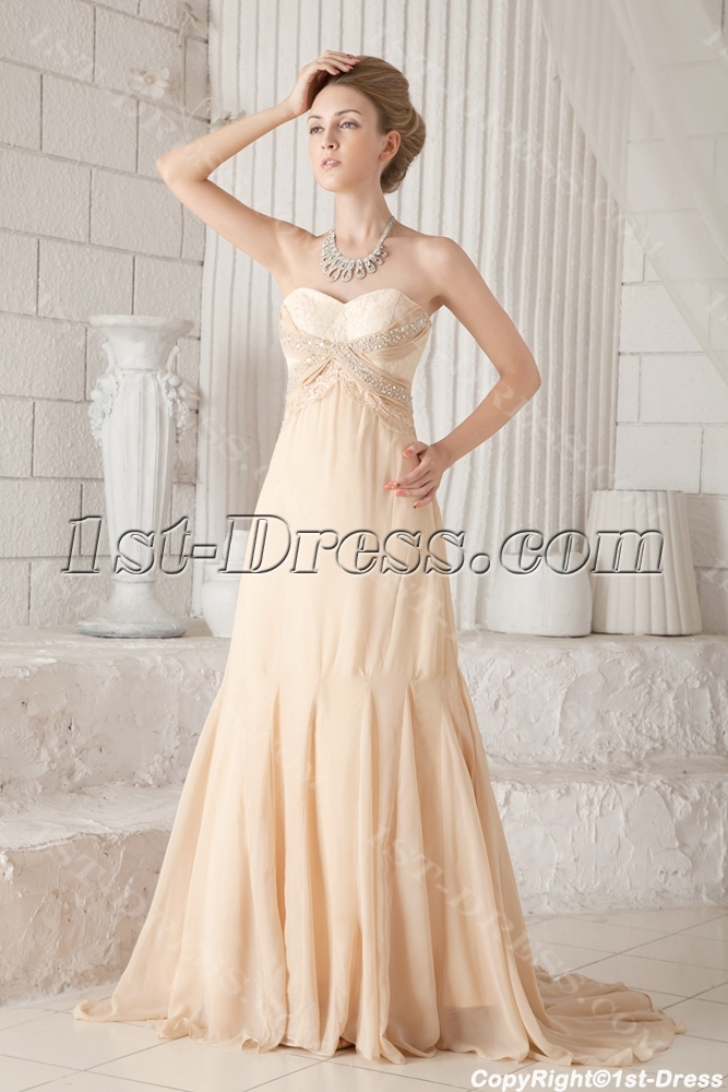 Champagne chiffon plus size prom gown 2013 1st for Plus size champagne wedding dresses